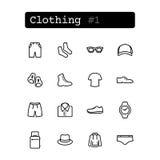 Stellen Sie Linie Ikonen ein Vektor Einkaufen, Kleidung Stockfotografie