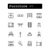 Stellen Sie Linie Ikonen ein Vektor Einkaufen, Möbel Stockfotos