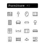Stellen Sie Linie Ikonen ein Vektor Einkaufen, Möbel Stockbilder