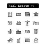 Stellen Sie Linie Ikonen ein Vektor Grundbesitz? Häuser, Ebenen für Verkauf oder für Miete Lizenzfreie Stockfotografie