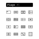 Stellen Sie Linie Ikonen ein Vektor Landesflaggen Stockfotos