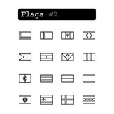 Stellen Sie Linie Ikonen ein Vektor Landesflaggen Stockfoto