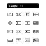 Stellen Sie Linie Ikonen ein Vektor Landesflaggen Lizenzfreie Stockfotos