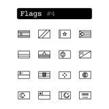 Stellen Sie Linie Ikonen ein Vektor Landesflaggen Lizenzfreies Stockbild