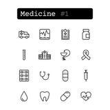 Stellen Sie Linie Ikonen ein Vektor medizin Stockbild