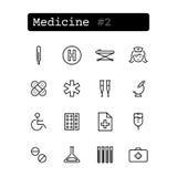 Stellen Sie Linie Ikonen ein Vektor medizin Stockbilder