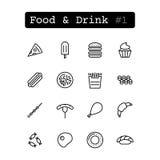 Stellen Sie Linie Ikonen ein Vektor Nahrung Stockbild