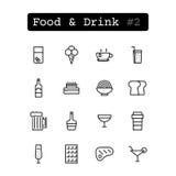Stellen Sie Linie Ikonen ein Vektor Nahrung Stockfoto