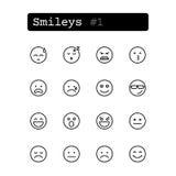 Stellen Sie Linie Ikonen ein Vektor smiley Lizenzfreie Stockfotos
