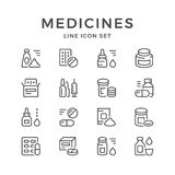 Stellen Sie Linie Ikonen von Medizin ein Stockbilder