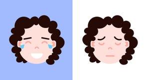 Stellen Sie Mädchen Haupt-emoji Persönlichkeitsikone mit Gesichtsgefühlen, Avataracharakter, dem Schreien und Schlafgesicht mit u Lizenzfreies Stockbild