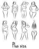 Stellen Sie Mädchenschattenbildskizze plus Größenmodell ein Curvy Frauensymbol Auch im corel abgehobenen Betrag lizenzfreie abbildung