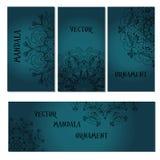 Stellen Sie Mandalavisitenkarte ein Runde Verzierung Stockbilder