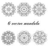 Stellen Sie Mandalen ein Rundes Verzierungs-Muster weinlese Stockfoto