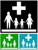 Stellen Sie medizinische Ikonen der Familie ein Stockbild