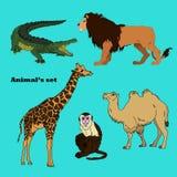 Stellen Sie mit Afrika-Tieren, Tiere der Savanne ein Stockfoto