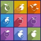 Stellen Sie mit Apfelikonen ein Stockbilder