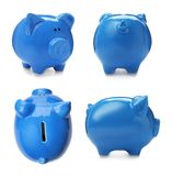 Stellen Sie mit blauem Sparschwein von den verschiedenen Ansichten ein stockbilder