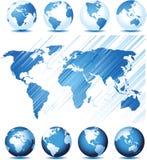 Stellen Sie mit Clobal Serie und Karten-Hintergrund ein Stockfotos