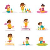 Stellen Sie mit dem Spielen von Kindern ein Vektor stock abbildung