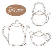 Stellen Sie mit drei verschiedenen Teekannen, lokalisierte Elemente auf weißem Hintergrund ein Stockfoto