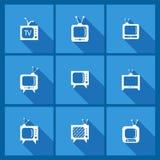Stellen Sie mit Fernsehikonen ein Lizenzfreie Stockbilder