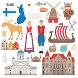 Stellen Sie mit Finnland-Symbolen in der flachen Art ein vektor abbildung