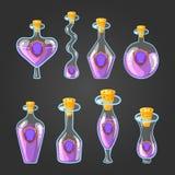 Stellen Sie mit Flaschen Schildtrank ein stock abbildung
