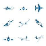 Stellen Sie mit Flugzeugikonen ein Lizenzfreie Stockfotografie