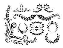 Stellen Sie mit grafischen botanischen Elementen der Zusammenfassung mit Niederlassungen und Blättern ein stock abbildung