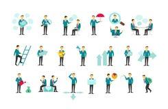 Stellen Sie mit Konzeptions-Vektorillustration der Leute flacher ein Stockbilder