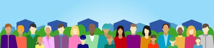 Stellen Sie mit Leuten, Familie, Wählerschaften usw. auf Land ein Lizenzfreies Stockbild