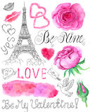 Stellen Sie mit Rosen und grafischen Liebessymbolen ein Stockfotos