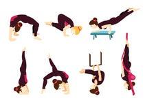 Stellen Sie mit Schönheit in den verschiedenen Haltungen von Yoga und von pilates ein Stockbilder