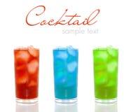 Stellen Sie mit verschiedenen Cocktails ein Stockfotografie