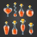 Stellen Sie mit verschiedenen Flaschen Flammentrank ein Lizenzfreies Stockbild