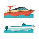 Stellen Sie Motorboot und kleines Boot mit Außenbordmotor ein lizenzfreie abbildung