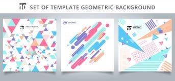 Stellen Sie Muster-Abdeckungsdesign der Schablone geometrisches ein Lizenzfreie Stockfotos