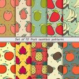 Stellen Sie nahtlose Muster der Frucht ein Lizenzfreie Stockfotos