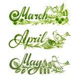 Stellen Sie Namen des Monatsfrühlinges ein Stockfotos