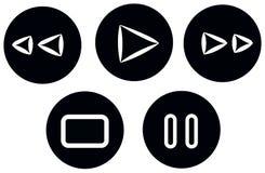 Stellen Sie noir Griffel der Knopfmedien ein Stockfotos