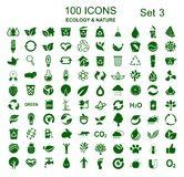 Stellen Sie Nr. drei von 100 Ökologieikonen - Vektor ein lizenzfreie abbildung