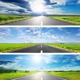 Stellen Sie O die drei Frühlingsstraßen für Fahnen ein Stockfoto