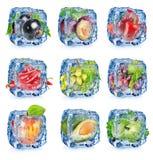 Stellen Sie Obst und Gemüse ein lizenzfreie stockfotografie