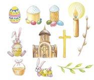 Stellen Sie Ostern von der Kirche, von den Kaninchen und vom Ostern-Kuchen für Ihre Entscheidungen ein lizenzfreie abbildung