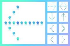 Stellen Sie 9 Pfeile von bunten blauen Tonperlen, Süßigkeiten, Bonbons, Zucker, Bonbon, Zeichen ein Stockbild