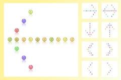 Stellen Sie 9 Pfeile von bunten Perlen, Süßigkeiten, Bonbons, Zucker, Bonbon, Zeichen ein Stockfotos