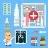 Stellen Sie Pillen und Spritzen der medizinischen Bedarfe ein Doktorzeiger Röntgenstrahl Stockfoto