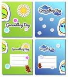 Stellen Sie Postkarte für Groundhog Day-Karikaturfeiertags-Illustrationsentwurf ein Grußplakat Februar-zweiter, Fahne, Karte stock abbildung