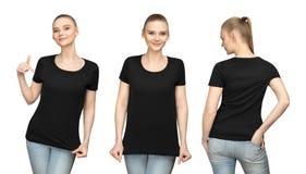 Stellen Sie Promohaltungsmädchen im leeren schwarzen T-Shirt Modelldesign für Druck und junge Frau der Konzeptschablone in T-Shir stockbild